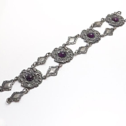 Fancy Vintage Purple Glass Bracelet