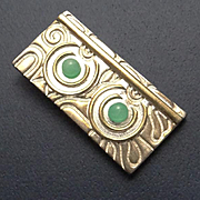 Unique Sterling Silver Modernistic Jade Pendant