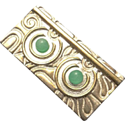 Unique Sterling Silver Modernistic Jade Pendant