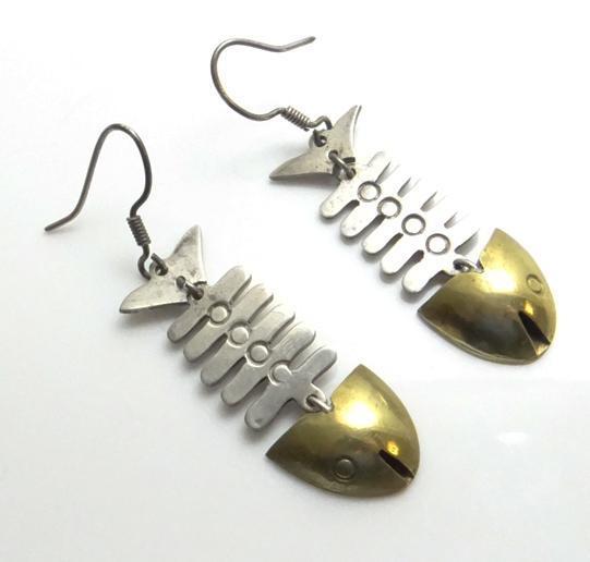 Sterling silver mexican fish bone mixed metal earrings for Fish bone earrings