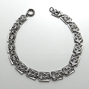 Vintage Sterling Danecraft Fancy Link Early Bracelet