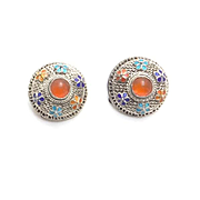 Vintage Carnelian Enamel Filigree Button Earrings