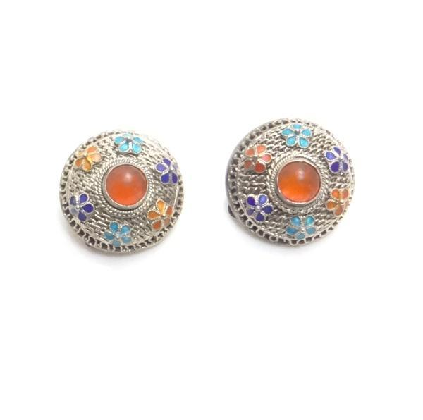 Vintage Carnelian Enamel Filigree Button Earrings JUST REDUCED!