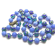 Vintage Miiliefiore Satin Glass Bead Necklace