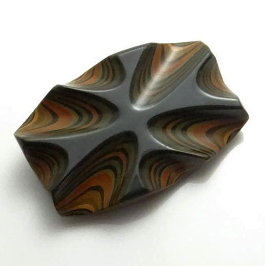 Vintage Psychedelic Carved  Laminated Bakelite Pin