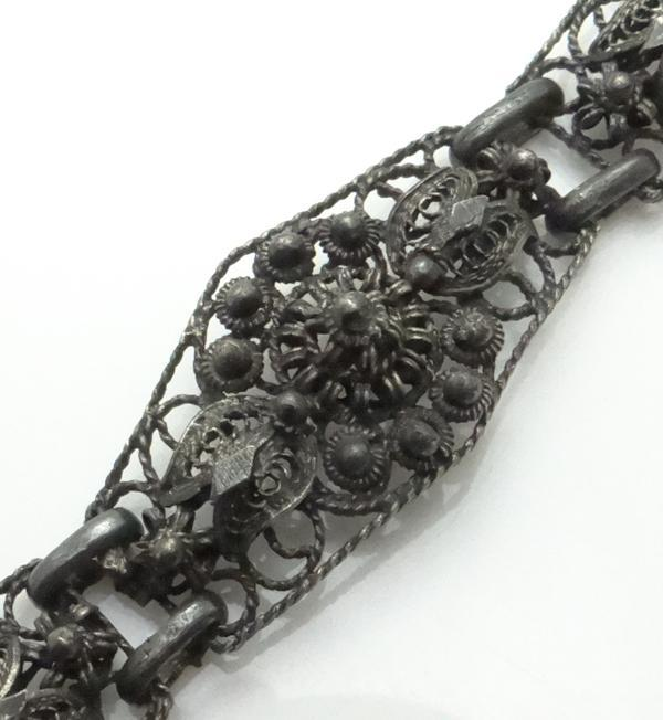 Vintage Sterling Silver Fancy Intense Filigree Bracelet