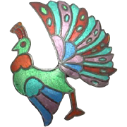 Vintage Colorful Siam Sterling Enamel Bird Pin