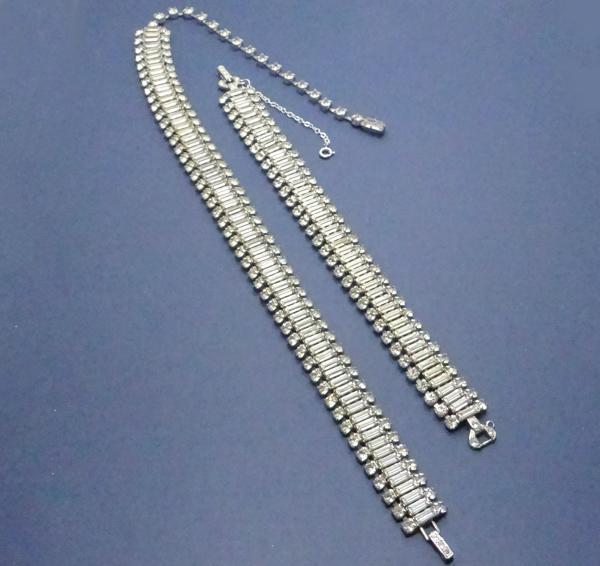 Vintage 1950's Rhinestone Baguette Necklace Bracelet Set Glamorous! JUST REDUCED!