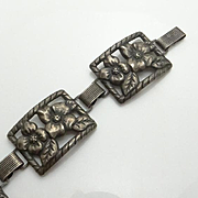 Vintage Danecraft Felch Company Sterling Silver Clematis Flower Panel Bracelet JUST REDUCED!