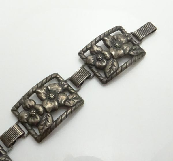 Vintage Danecraft Felch Company Sterling Silver Clematis Flower Panel Bracelet JUST REDUCED!