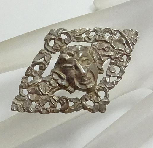 Antique Evil Face Sterling Silver Brooch Pin