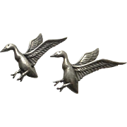 Vintage Sterling Silver Danecraft Bird Duck Goose Pin Set Figural