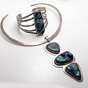 Big Vintage Mexican Sterling Silver Cuff Bracelet Necklace Set