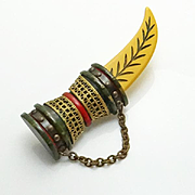Rare Large Vintage Carved Bakelite Brass Sword Pin Brooch