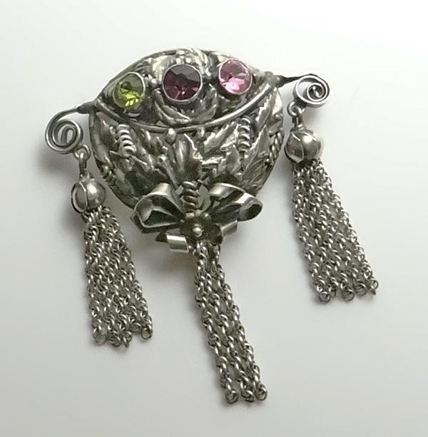 Vintage Hobe Sterling Silver Tassel Rhinestone Pin