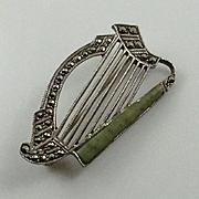 Petite Irish Connemara Marcasite Sterling Harp Brooch Pin
