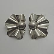Mexican Taxco Modernist Fan Sterling Silver Earrings Pierced