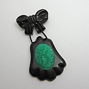 Vintage Carved Black Bakelite Green Celluloid Dangle Pin JUST REDUCED!