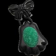 Vintage Carved Black Bakelite Green Celluloid Dangle Pin
