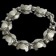 Adorable Beau Sterling Silver Modernist Cat  Link Bracelet