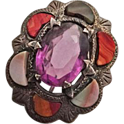Victorian Antique Scottish Silver and Agate Pin Circa 1890