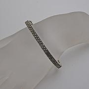 Judith Jack Sterling Silver  Marcasite Hinged Bangle Bracelet