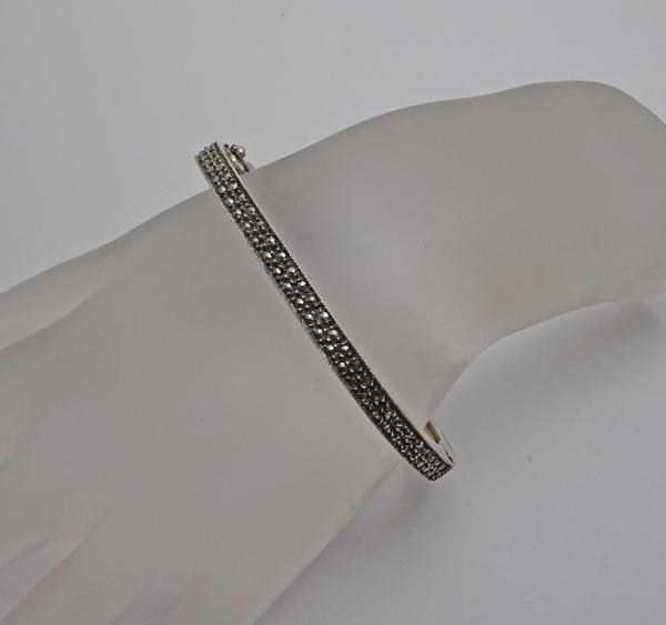 Judith Jack Sterling Silver  Marcasite Hinged Bangle Bracelet