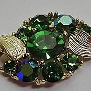 Vintage Lisner AB Green Rhinestone Jewelry Set Bracelet  Necklace