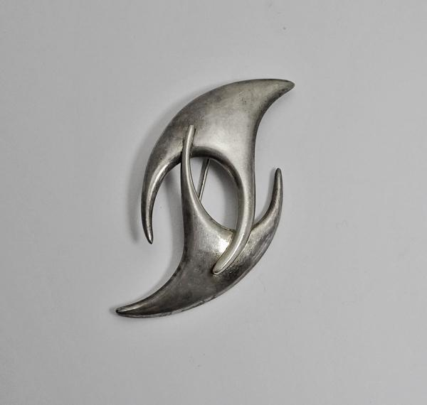 Large Vintage Mexican Taxco Sterling Silver Abstract Modernist Biomorphic Brooch Pin