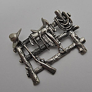 Vintage Sterling Silver  Mexican Western Theme Figural Pin Saddle, Rope, Gun, Hat