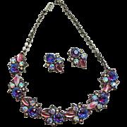 Vintage Florenza Watermelon Rhinestone AB Rivoli Parure Necklace Earring Set