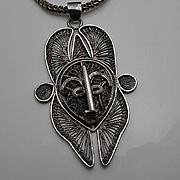 Vintage Modernist Tribal Sterling Silver Filigree Face Pendant