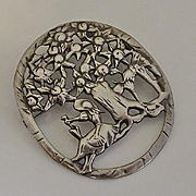 Large Vintage Sterling Silver Brooch Pin Lady and Boy Picking Fruit 1940s