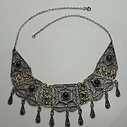 Vintage Sterling Silver Eilat Stone Filigree Bib Drop Necklace