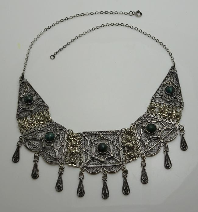Vintage Sterling Silver Eilat Stone Filigree Bib Drop Necklace