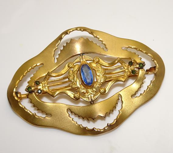 Large Antique Art Nouveau Blue Stone Sash Pin