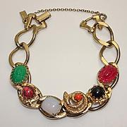 Vintage Reinad 5th Ave NY Chunky Link  Snake  Scarab Bracelet