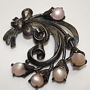 Large Vintage Sterling Silver Pink Flower Pin Brooch