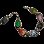 Chunky Miracle Glass Stone Dangle Charm Bracelet