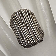 Bold Vintage Sterling Silver Modernist Wire Overlay Ring Unique