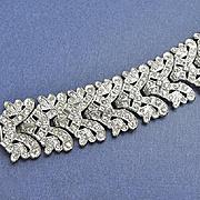 Wide Vintage Art Deco  1930s Pot Metal  Pave Rhinestone Bracelet