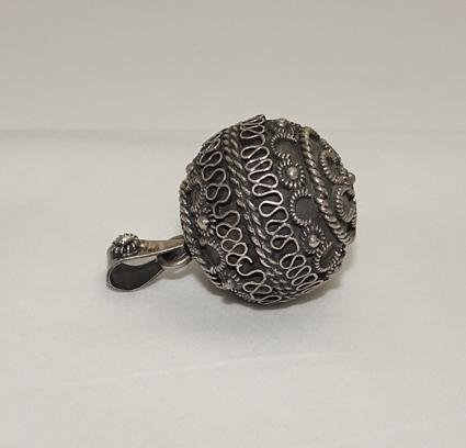 Vintage Sterling Silver  Etruscan Jingle Ball Necklace Pendant JUST REDUCED!