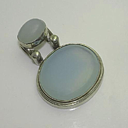 Chunky Sterling Silver Blue Chalcedony Pendant