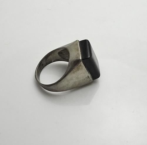chunky vintage onyx sterling silver ring size 10 and 1 2