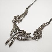 Vintage Art Deco Sterling Marcasite Flower Necklace