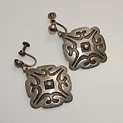 Vintage Native American Indian Sterling Silver Drop Screw Back Earrings Large