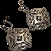 Vintage Native American Indian Sterling Silver Drop Screw Back Earrings Large