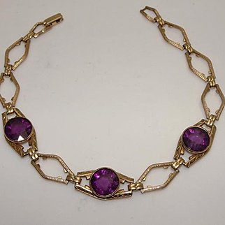 Vintage Art Deco Purple Stone Gold Filled Bracelet