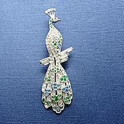Long Vintage 1940s Pave Rhinestone Peacock Dress Clip Pin
