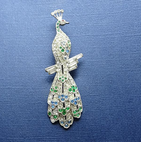 Long Vintage 1940s Pave Rhinestone Peacock Dress Clip Pin